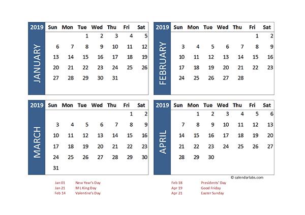2019 Excel 4 Month Calendar Template - Free Printable