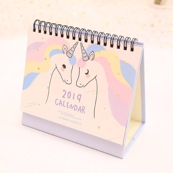 2019 Unicorn Desktop Paper Calendar Daily Scheduler Table