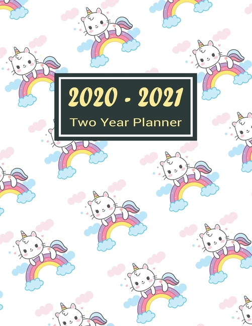 2020-2021 Two Year Planner: Rainbow Unicorn Two Year