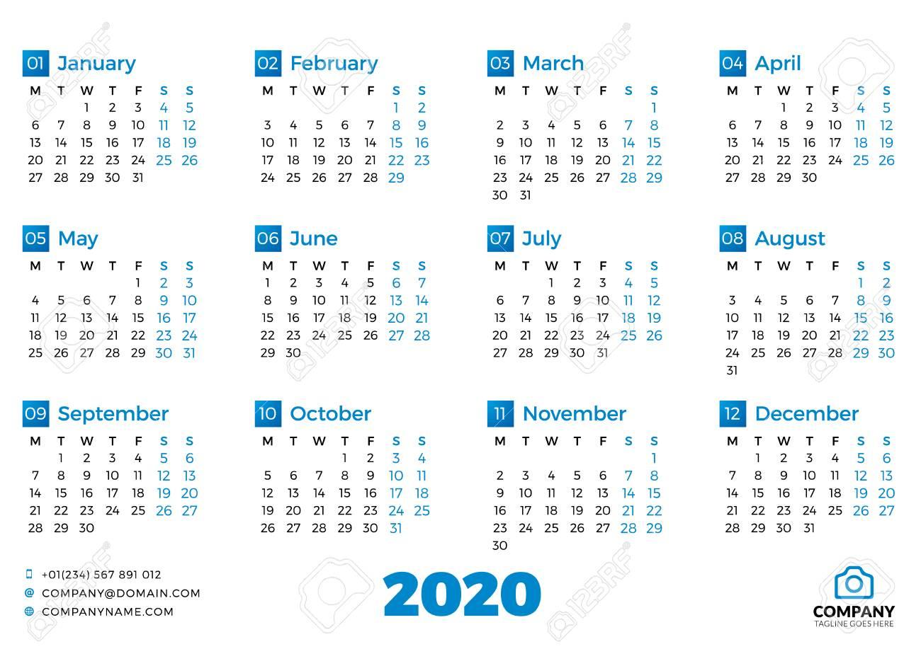 2020 Calendar Starting Monday - Calendar Printable Free