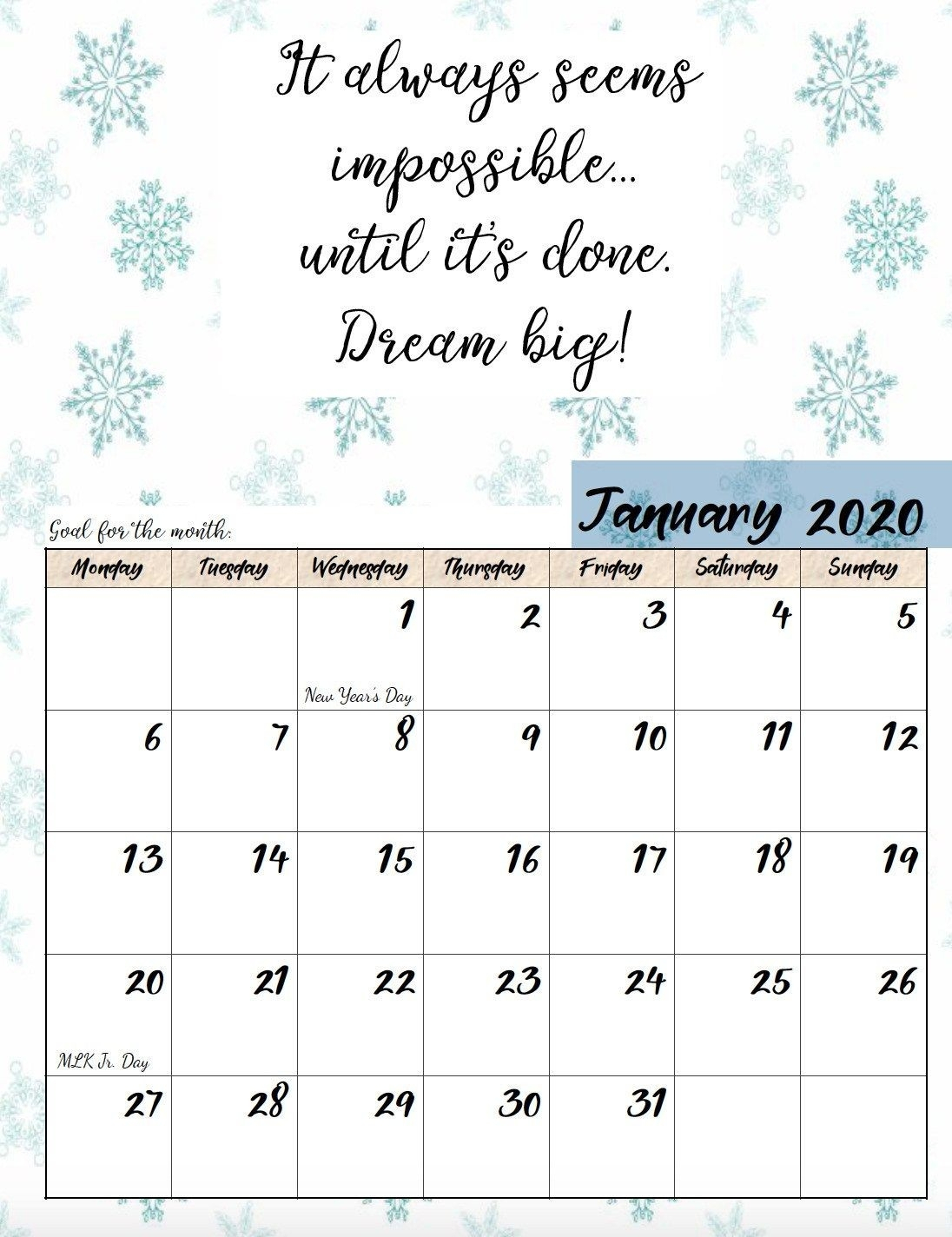 2020 Monthly Calendars Starting With Monday   Calendar Template Printable