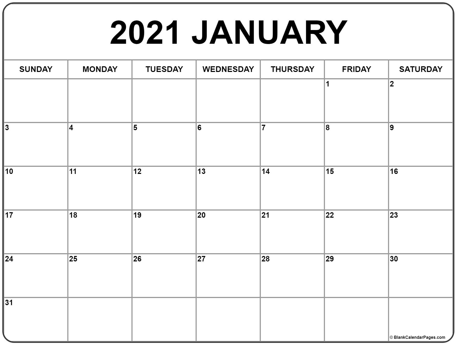 2021 Blank Calendar January   Free Printable Calendar