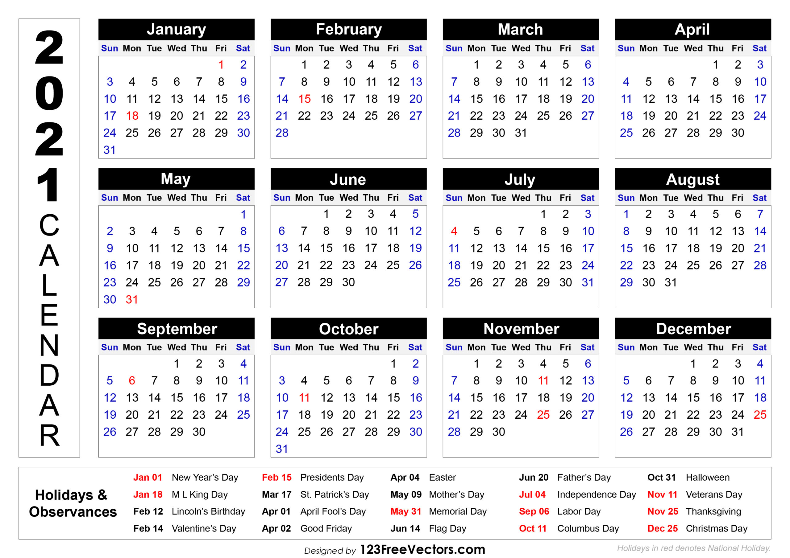 2021 Calendar Holidays And Observances | Printable Calendars 2021