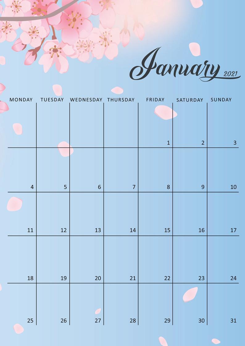 2021 Calendar Printable 2021 Calendar Template Monthly   Etsy