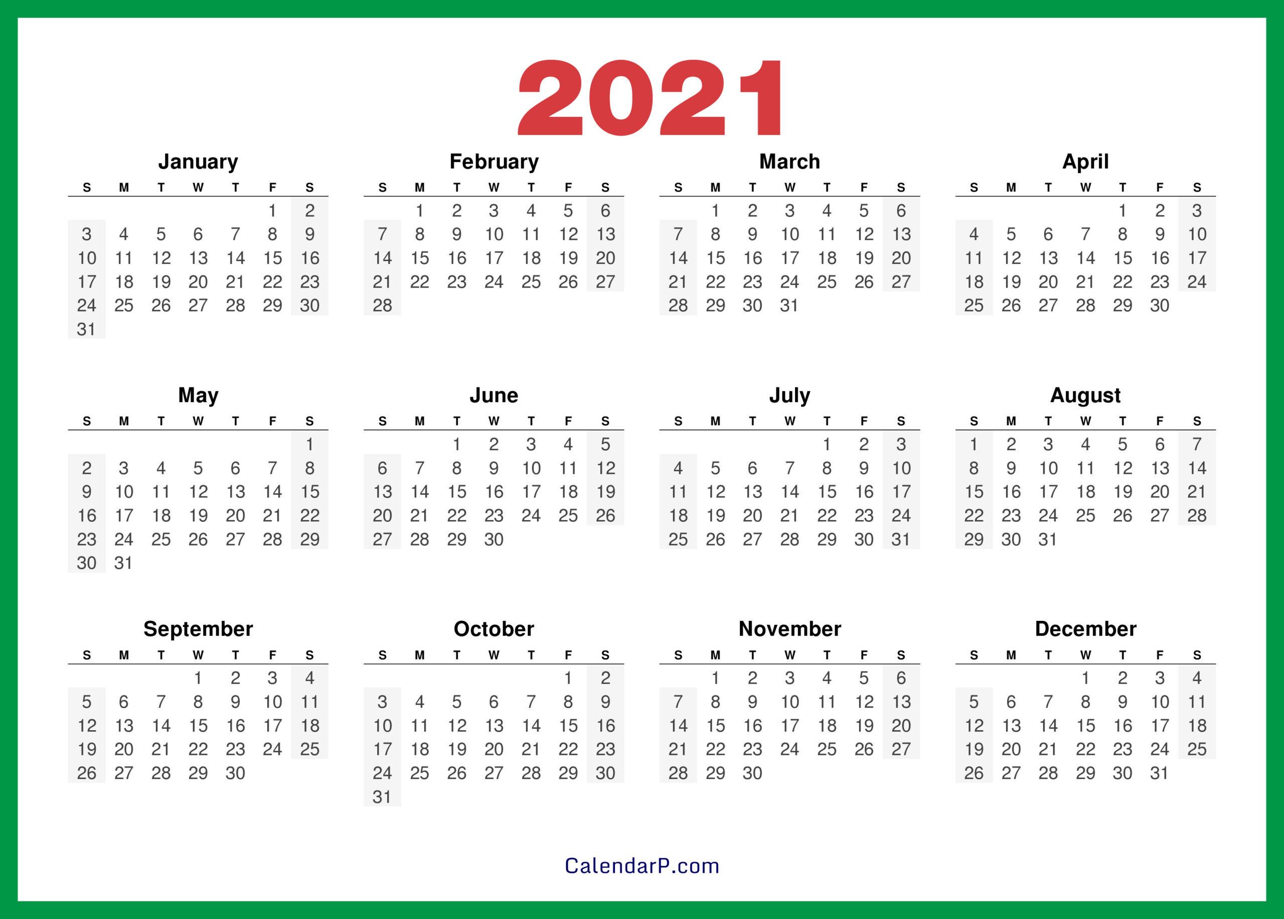 2021 Calendar Printable Free Hd - Green - Calendarp