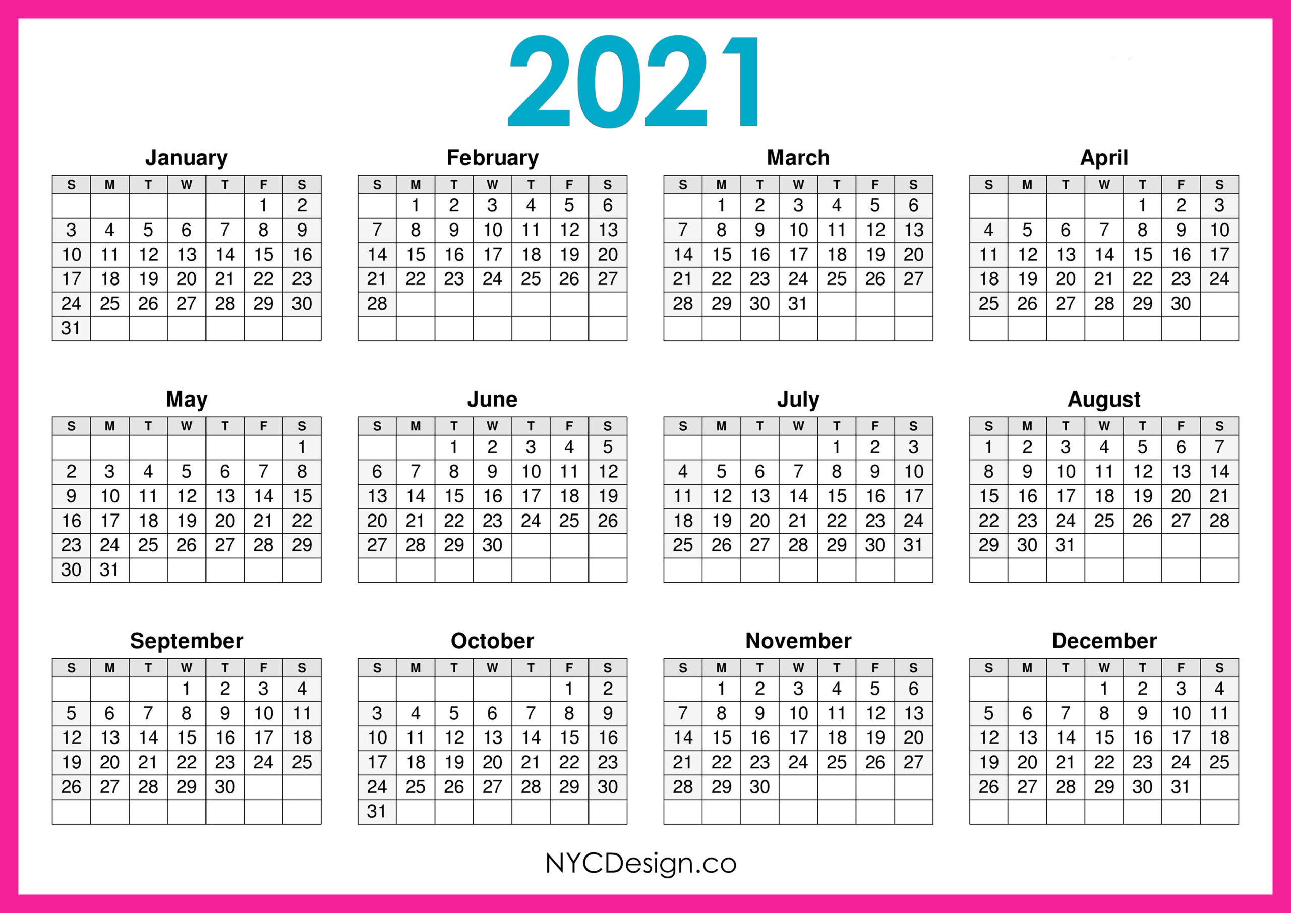2021 Calendar Printable Free Horizontal Pink Hd