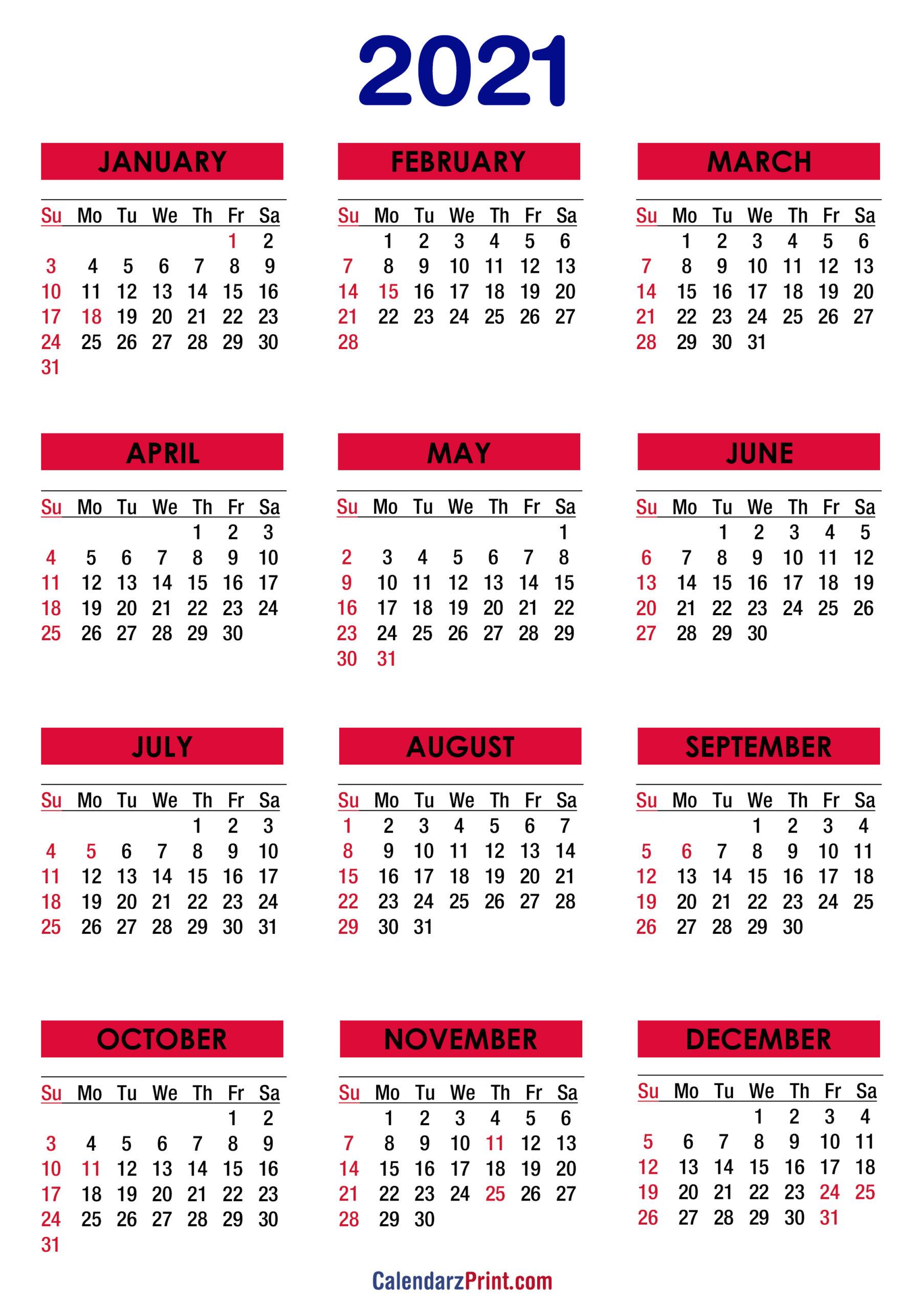 2021 Yearly Calendar Printable Free Pdf