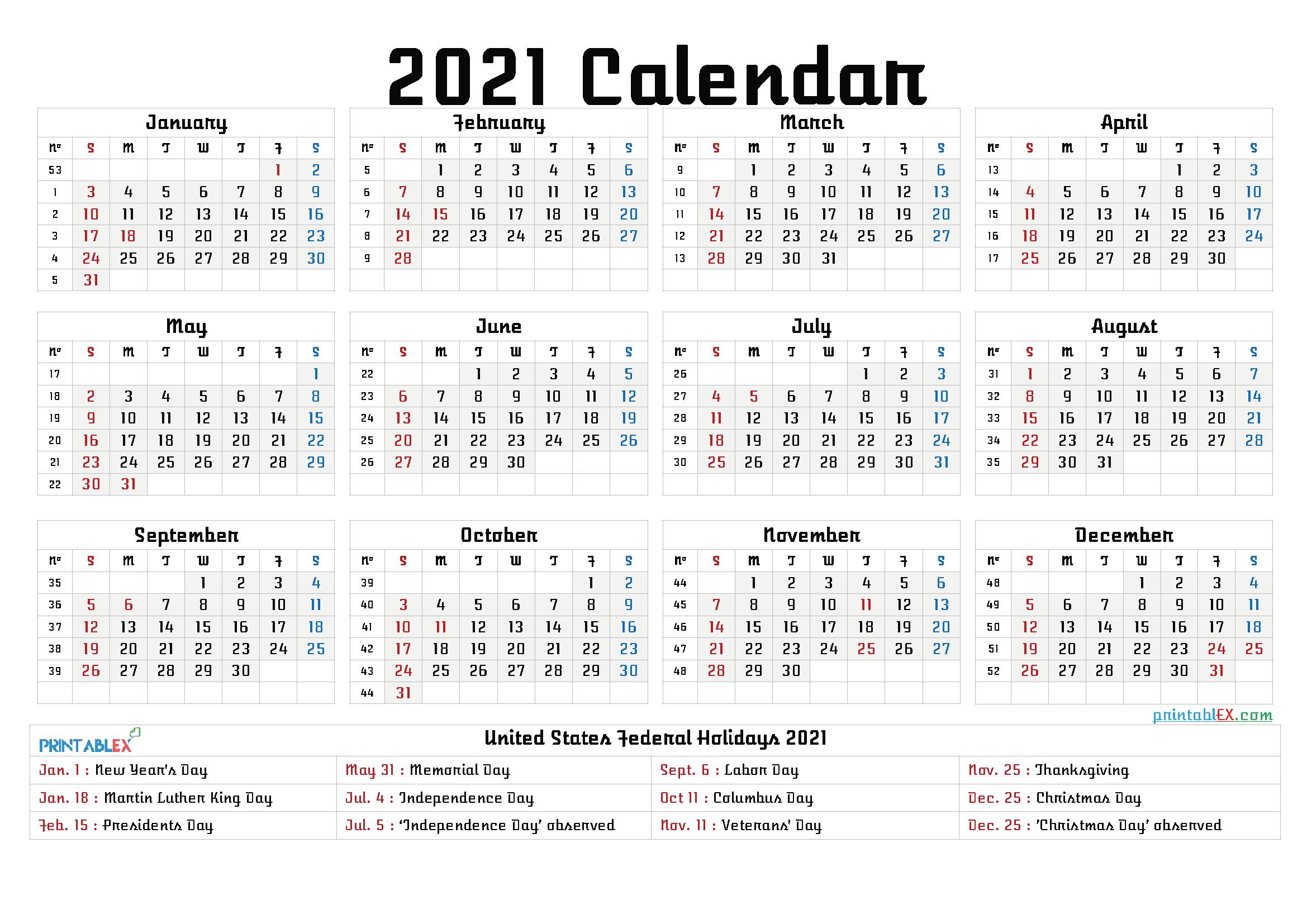 2021 Calendar Printable Free Pdf - 2021 Calendar Printable