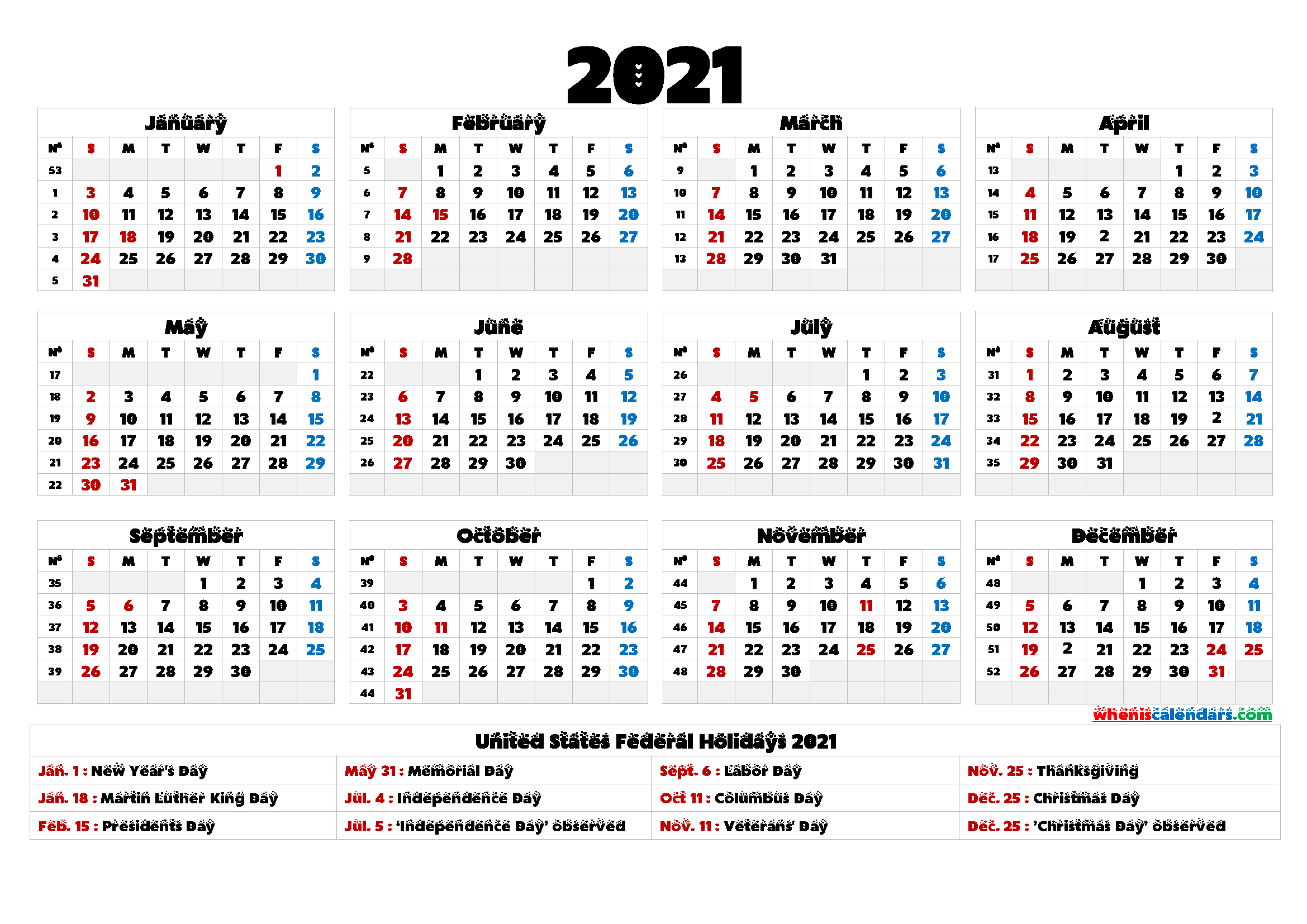 2021 Calendar Printable One Page - 9 Templates
