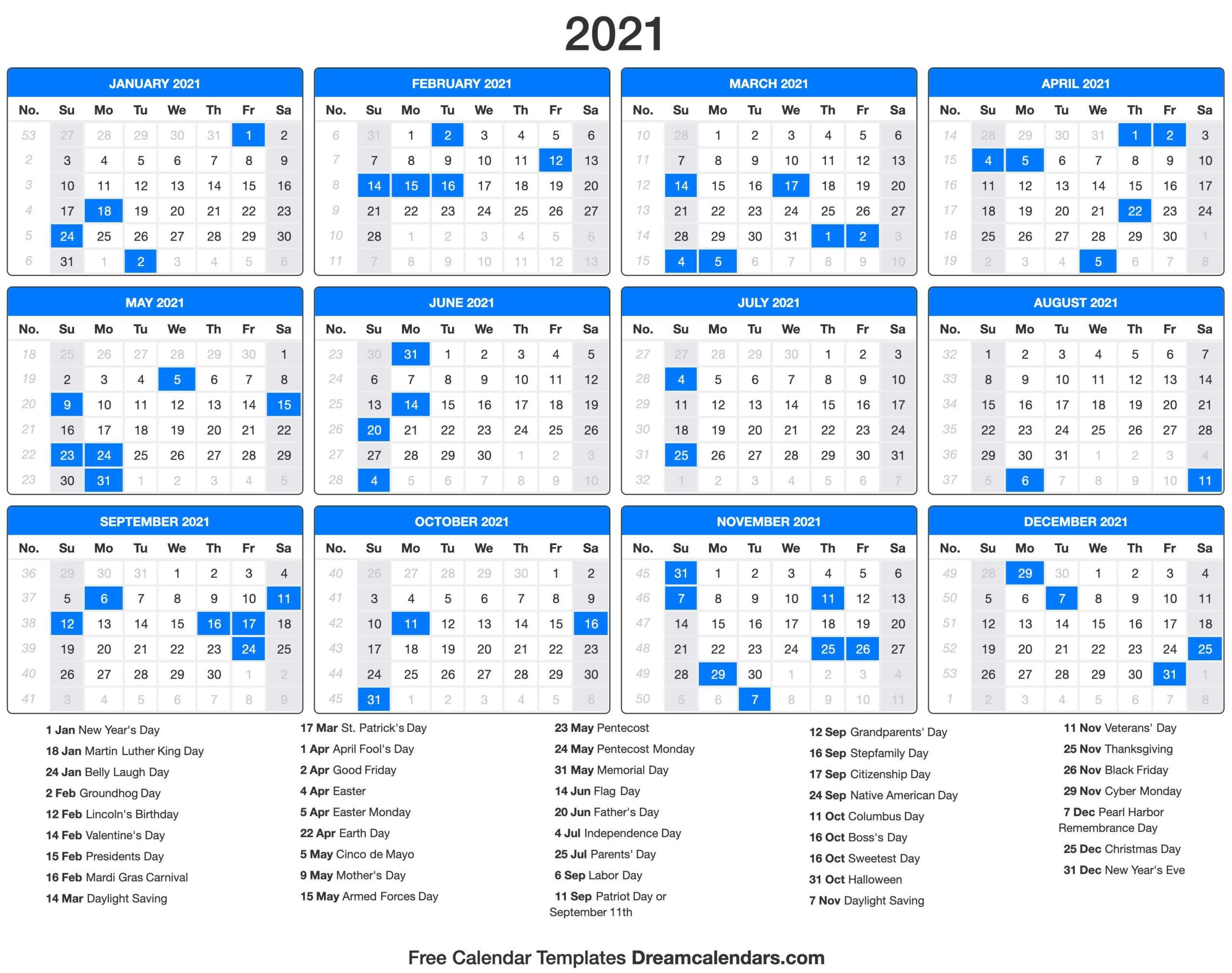 2021 Calendar Printable Pdf With Holidays   2021 Printable