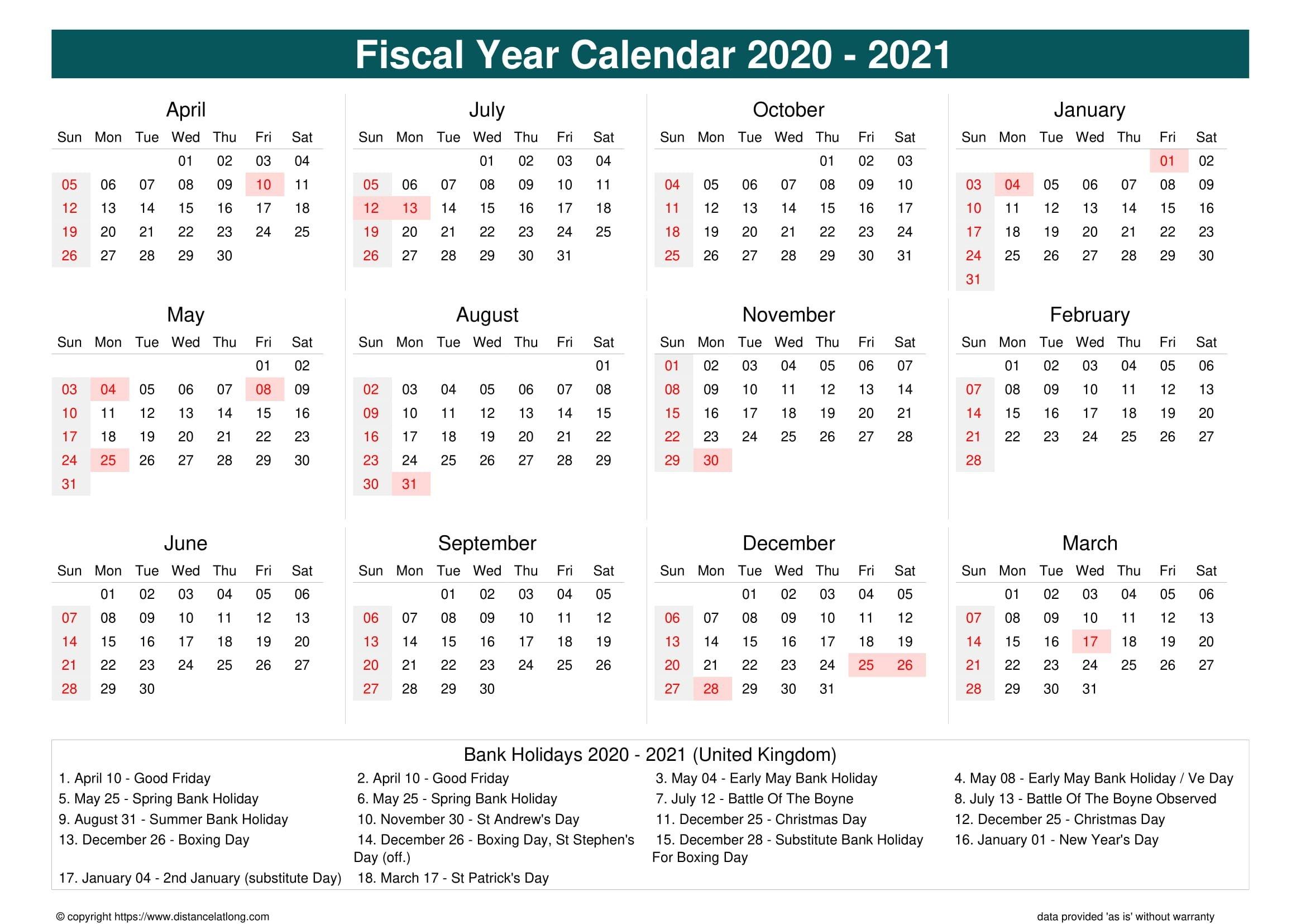 2021 Calendar With Bank Holidays - Example Calendar Printable