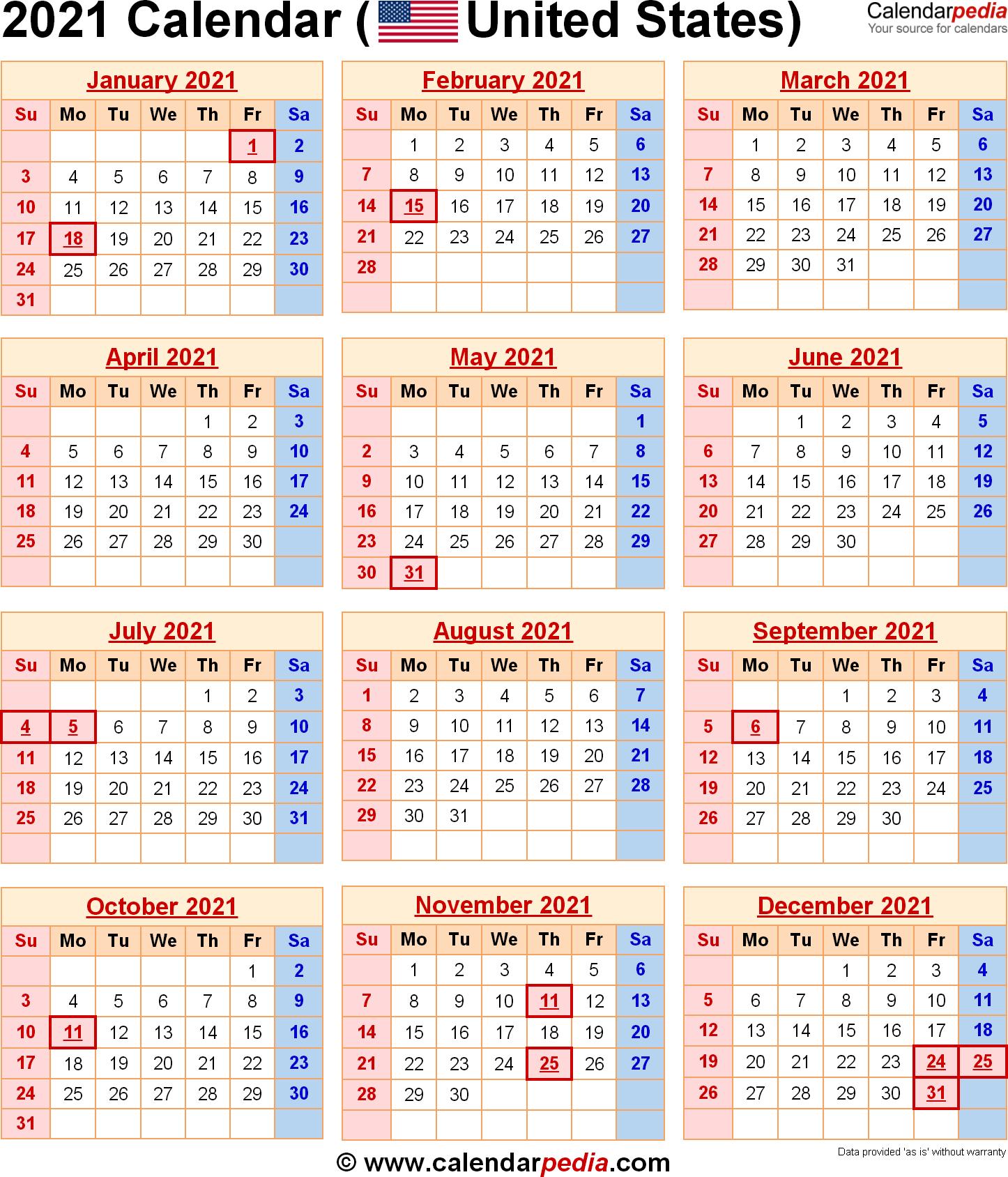 2021 Calendar With Federal Holidays