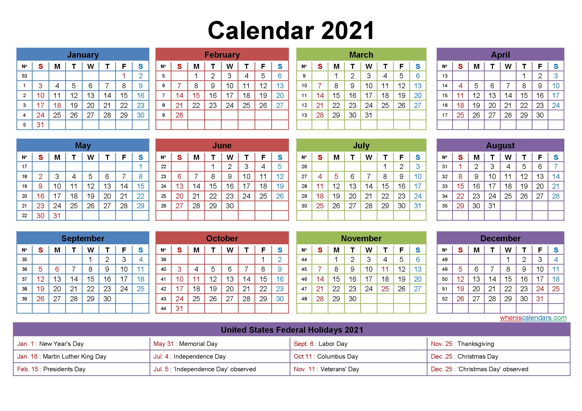 2021 Calendar With Holidays Printable Word Pdf