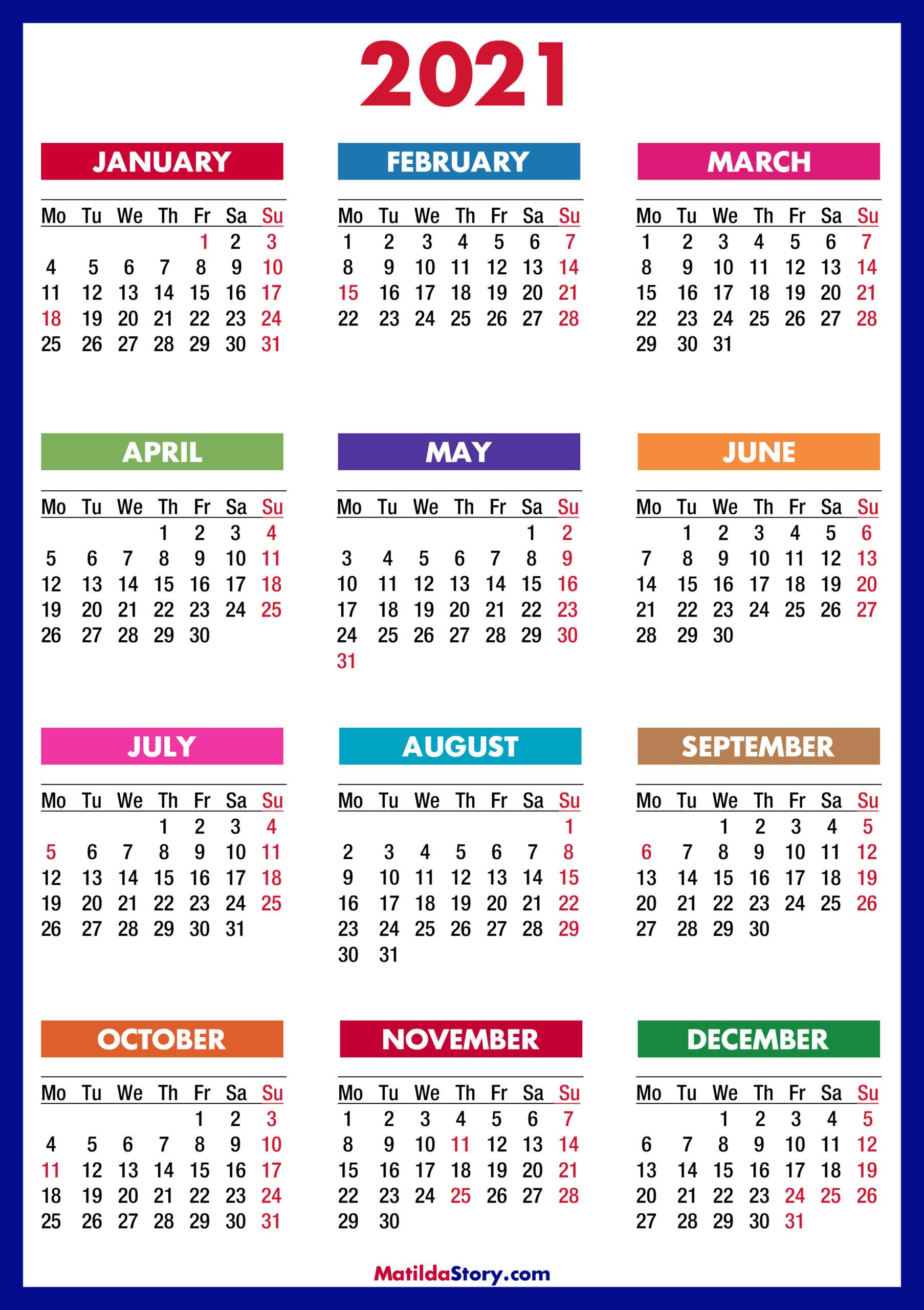 2021 Calendar With Holidays Usa | Printable Calendars 2021