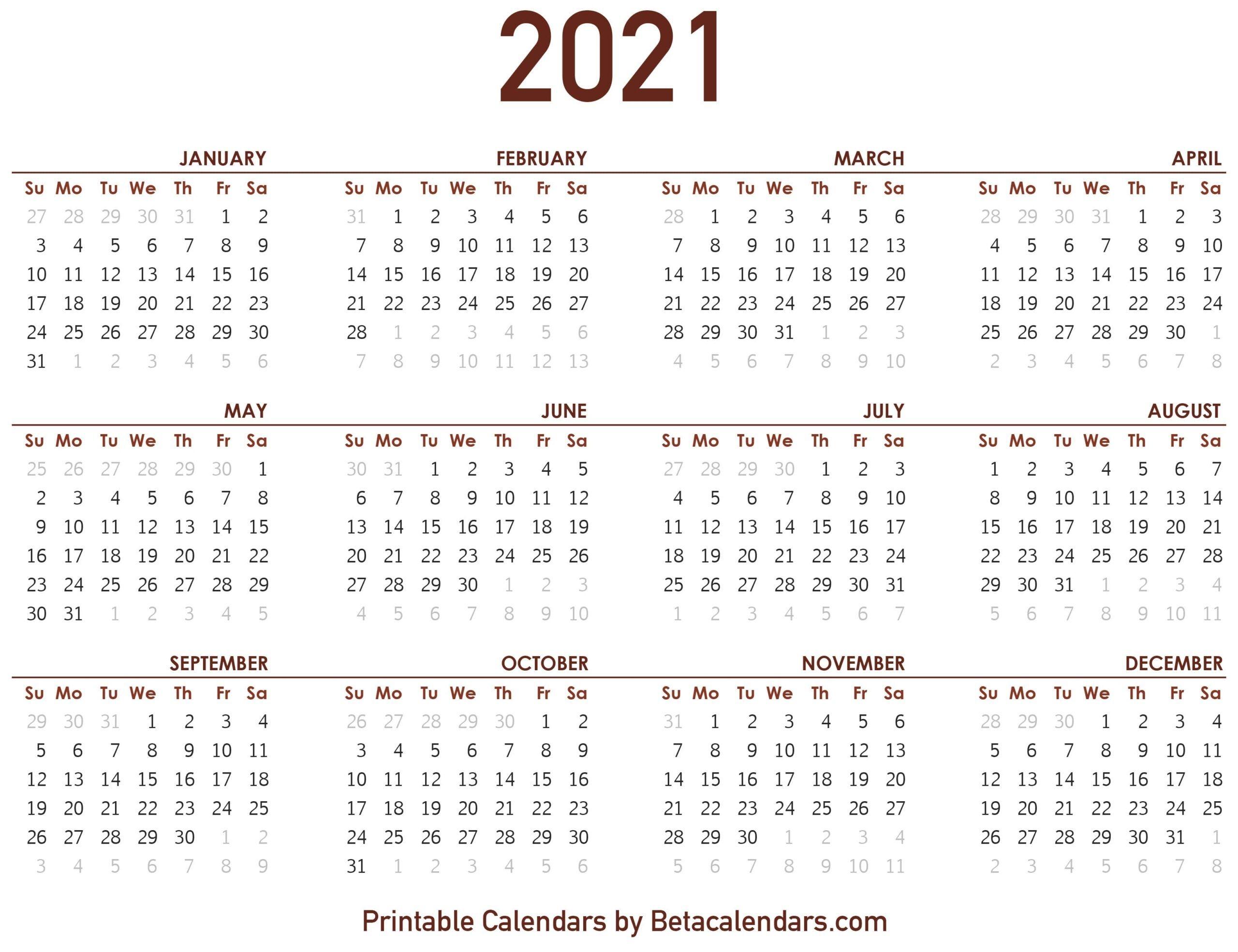 2021 Calendar With Numbered Days - Example Calendar Printable