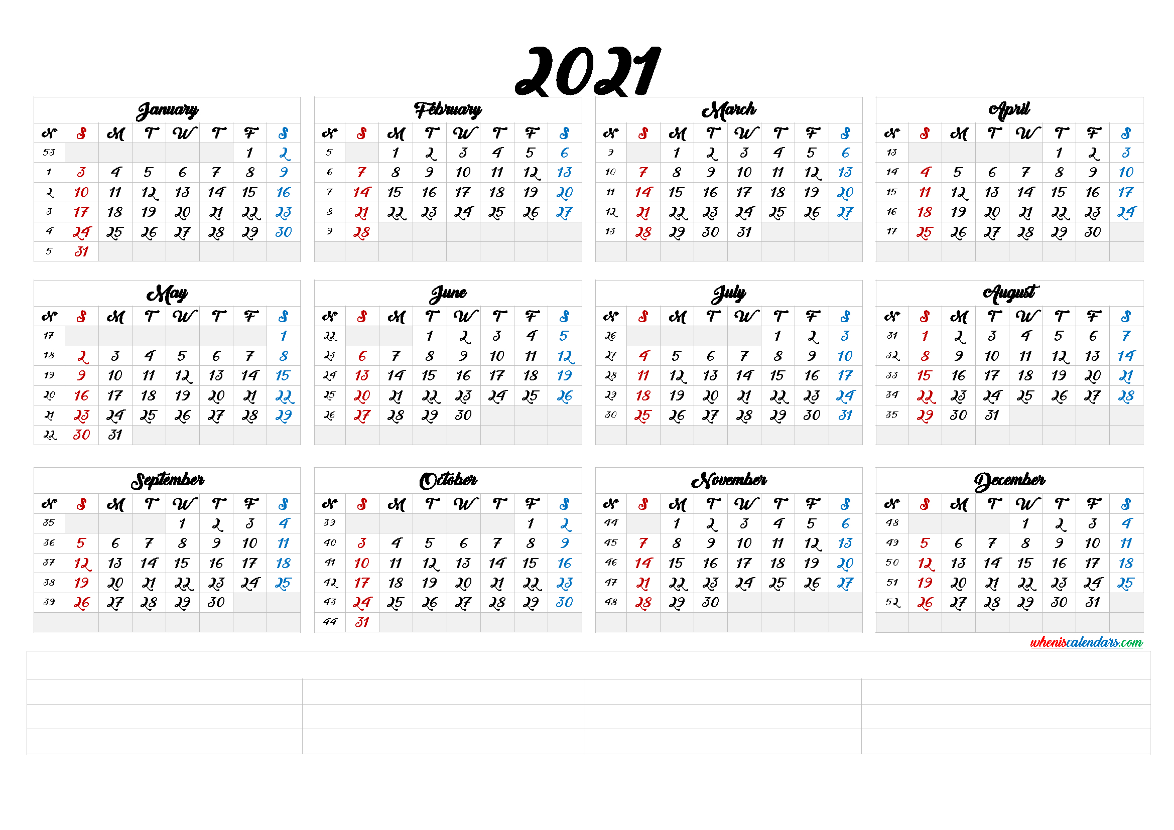 2021 Calendar With Week Number Printable Free : 2021