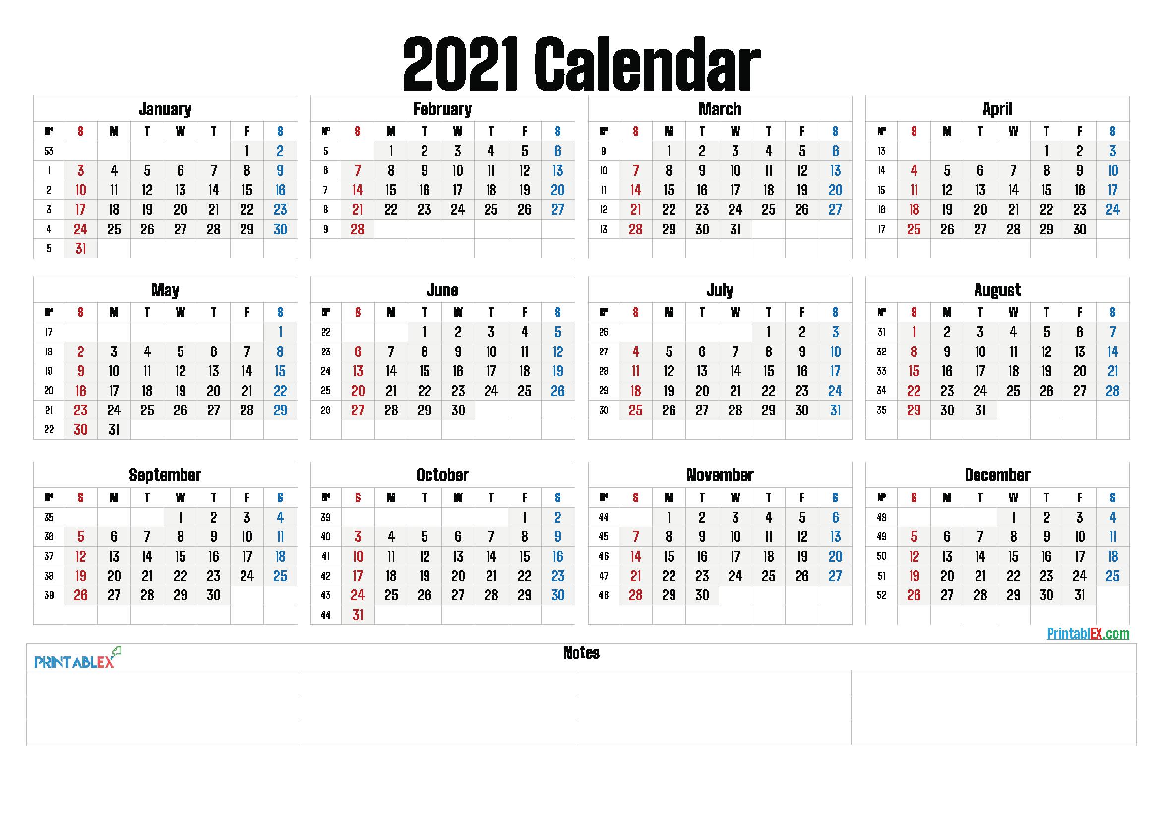 Large Print Free Printable Calendar 2021