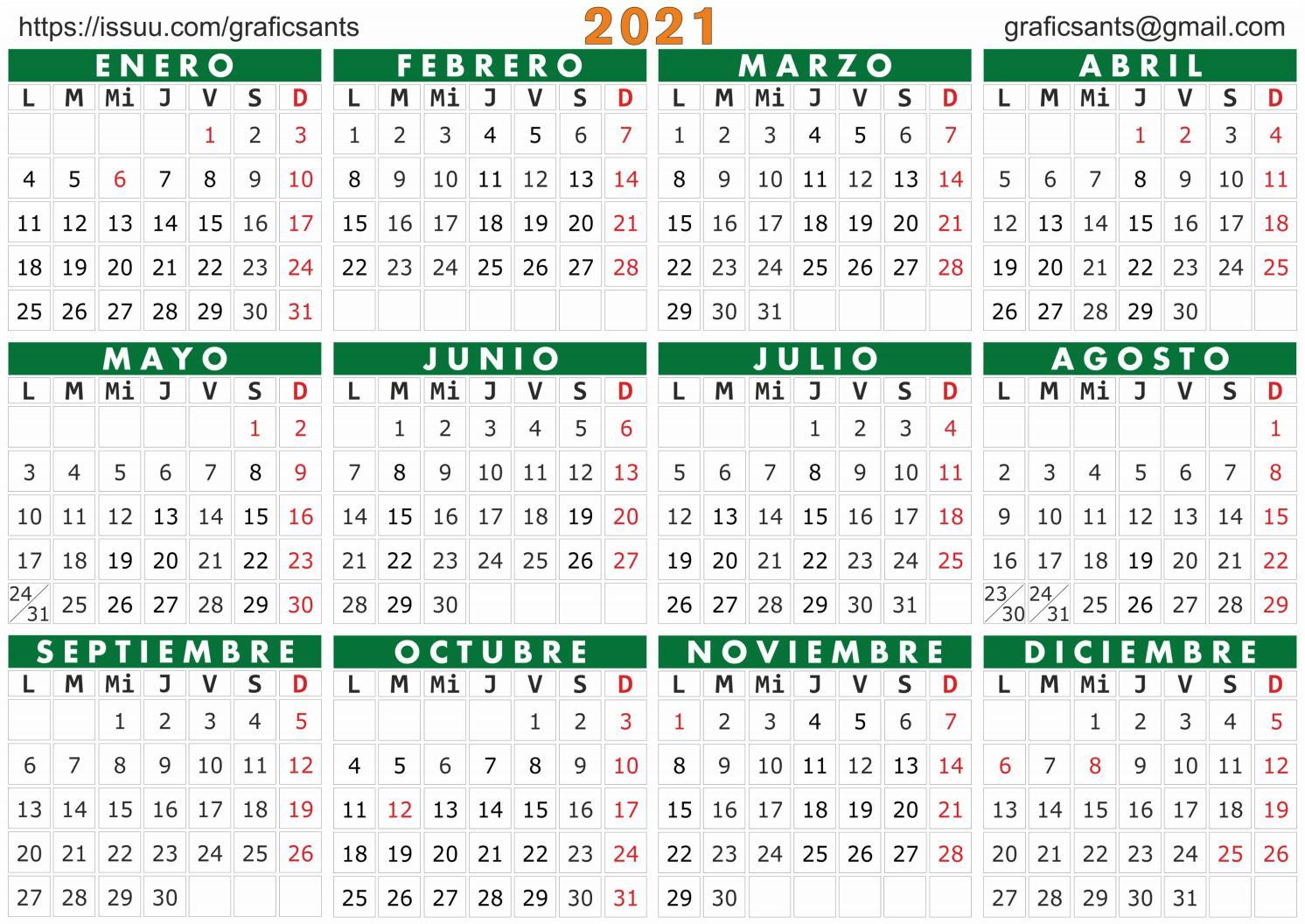 2021 Calendario Castellanograficsants - Issuu