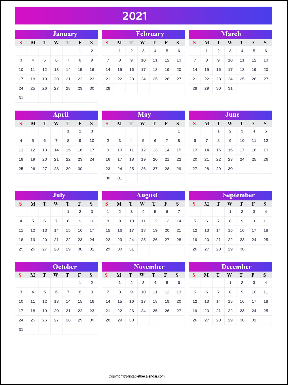 2021 Editable Calendar | Printable The Calendar