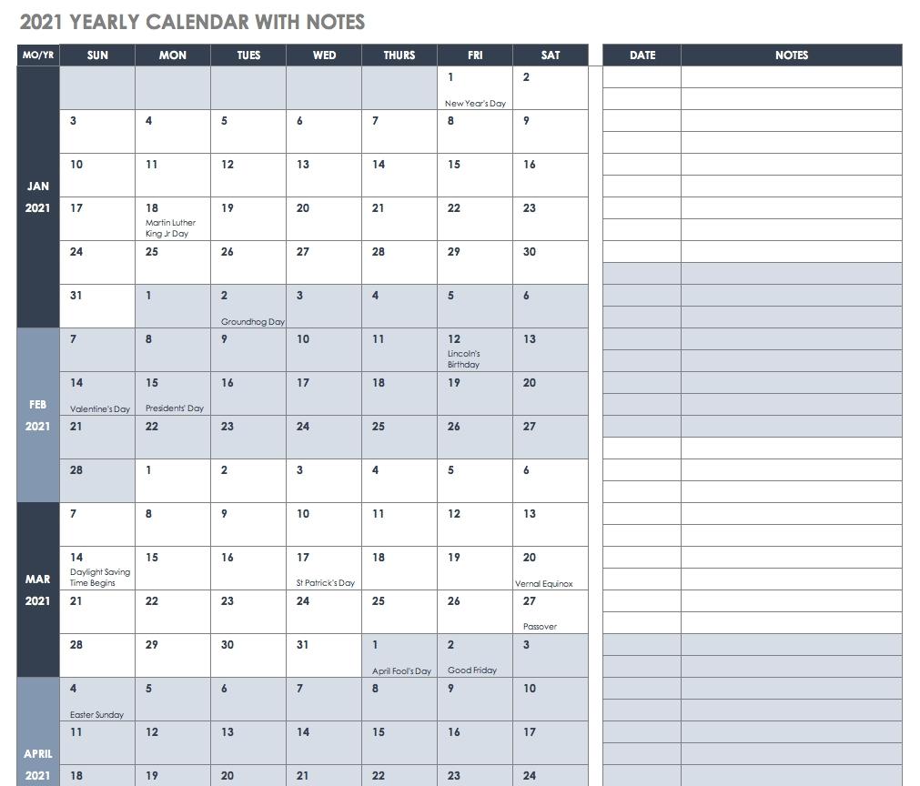 2021 Editable Yearly Calendar | Calendar Template Printable