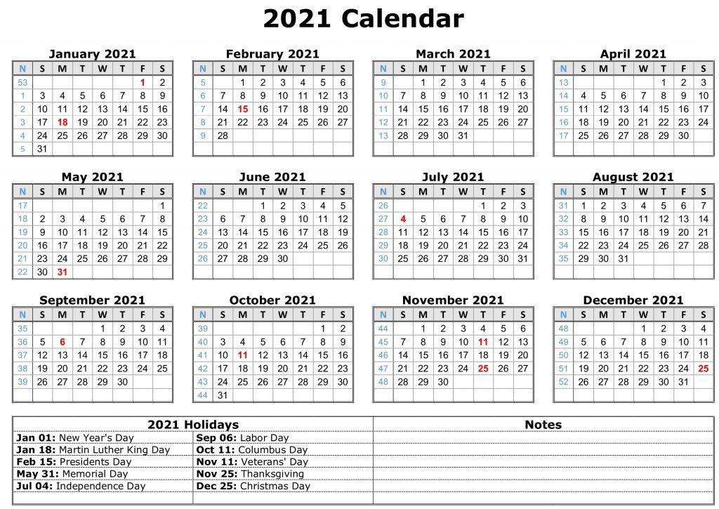 2021 Monthly Calendar Printable Word  2021 Calendar (Pdf