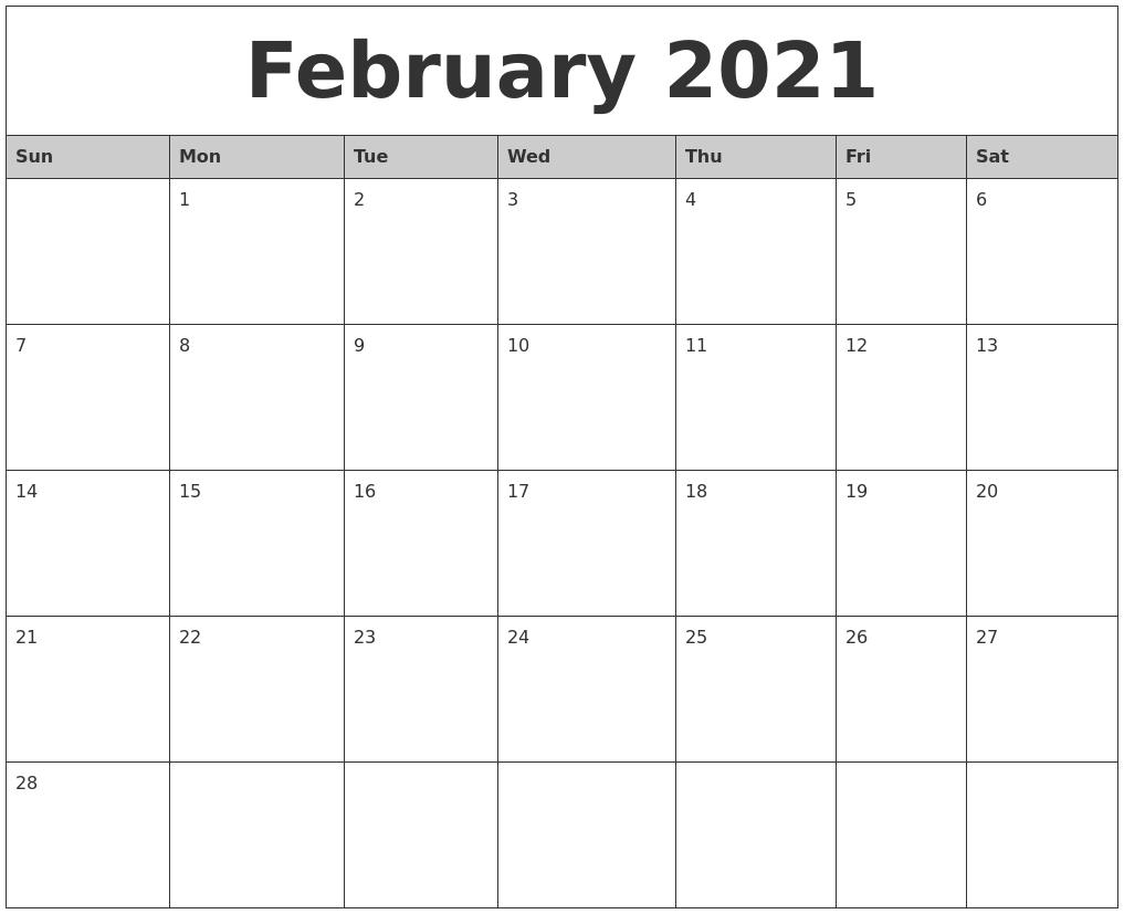 2021 Monthly Calendar Printable Word - Editable Printable