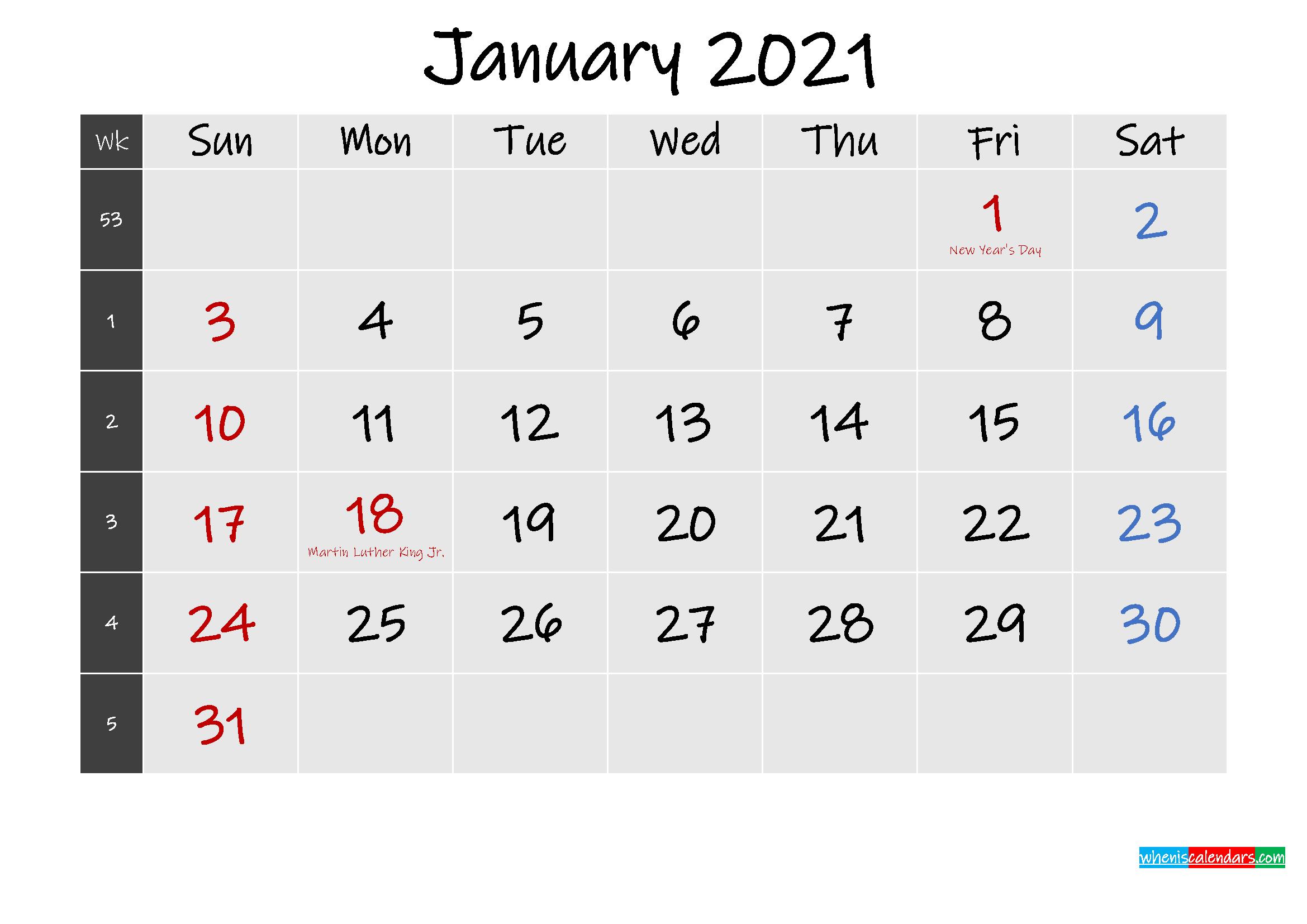 2021 Monthly Calendar Printable Word - Free Printable 8 Week Calendar | Ten Free Printable