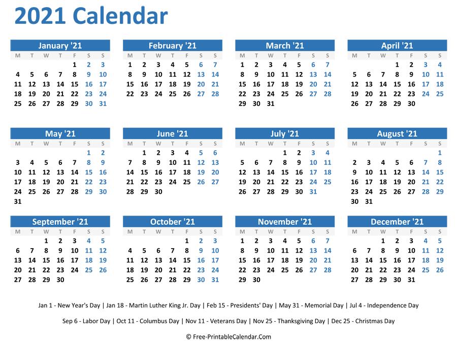 2021 Monthly Calendar Printable Word - Free Printable 8
