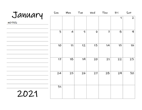 2021 Monthly Calendar Template Word