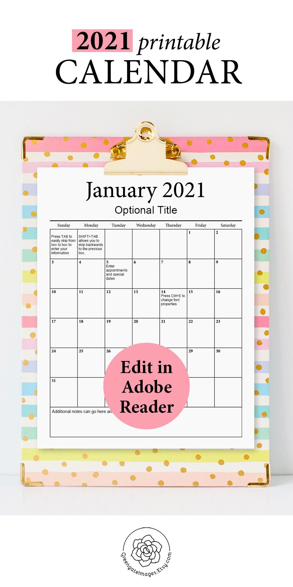 2021 Printable Calendar - Fillable Planner Editable Pdf
