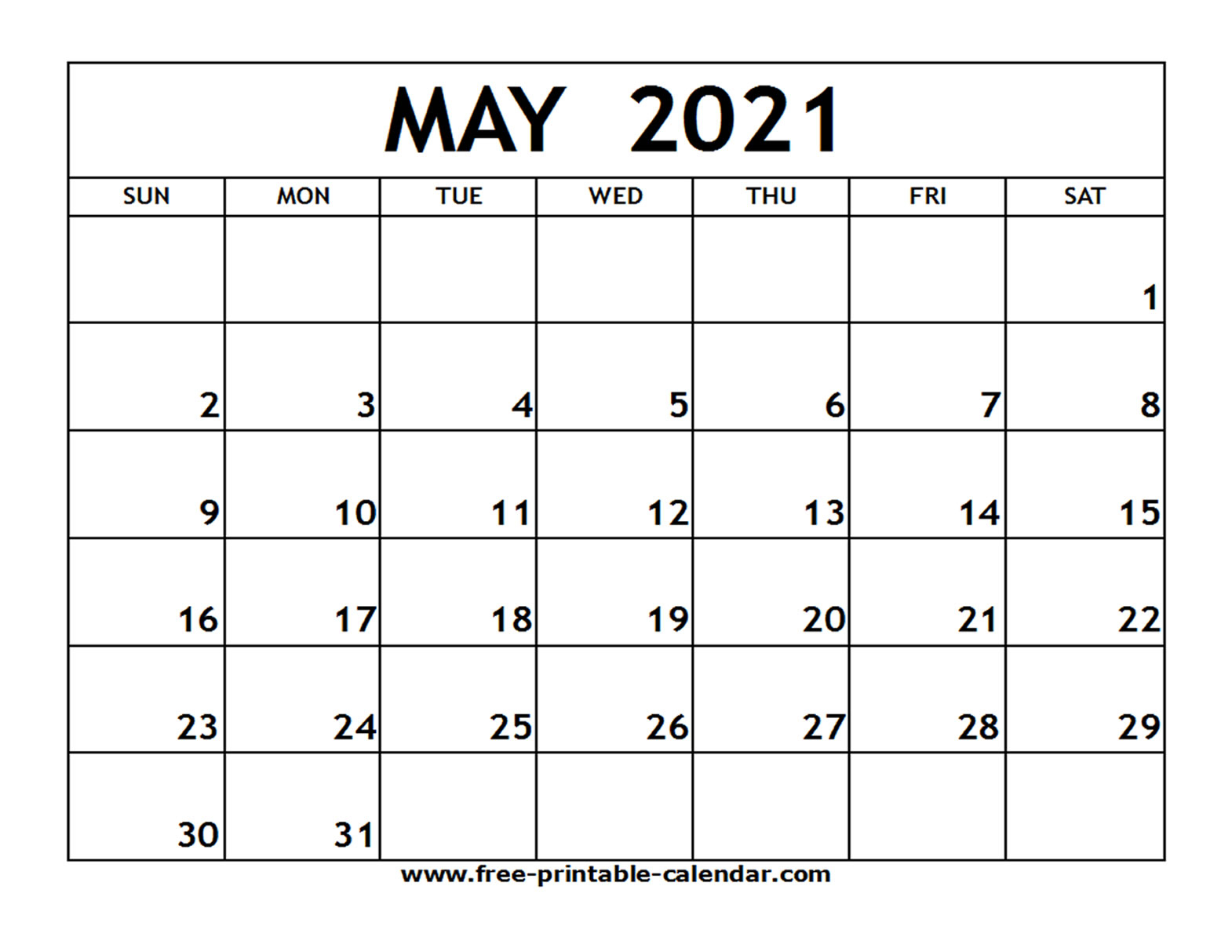 Calendar 2021 Free Printable With Note Space