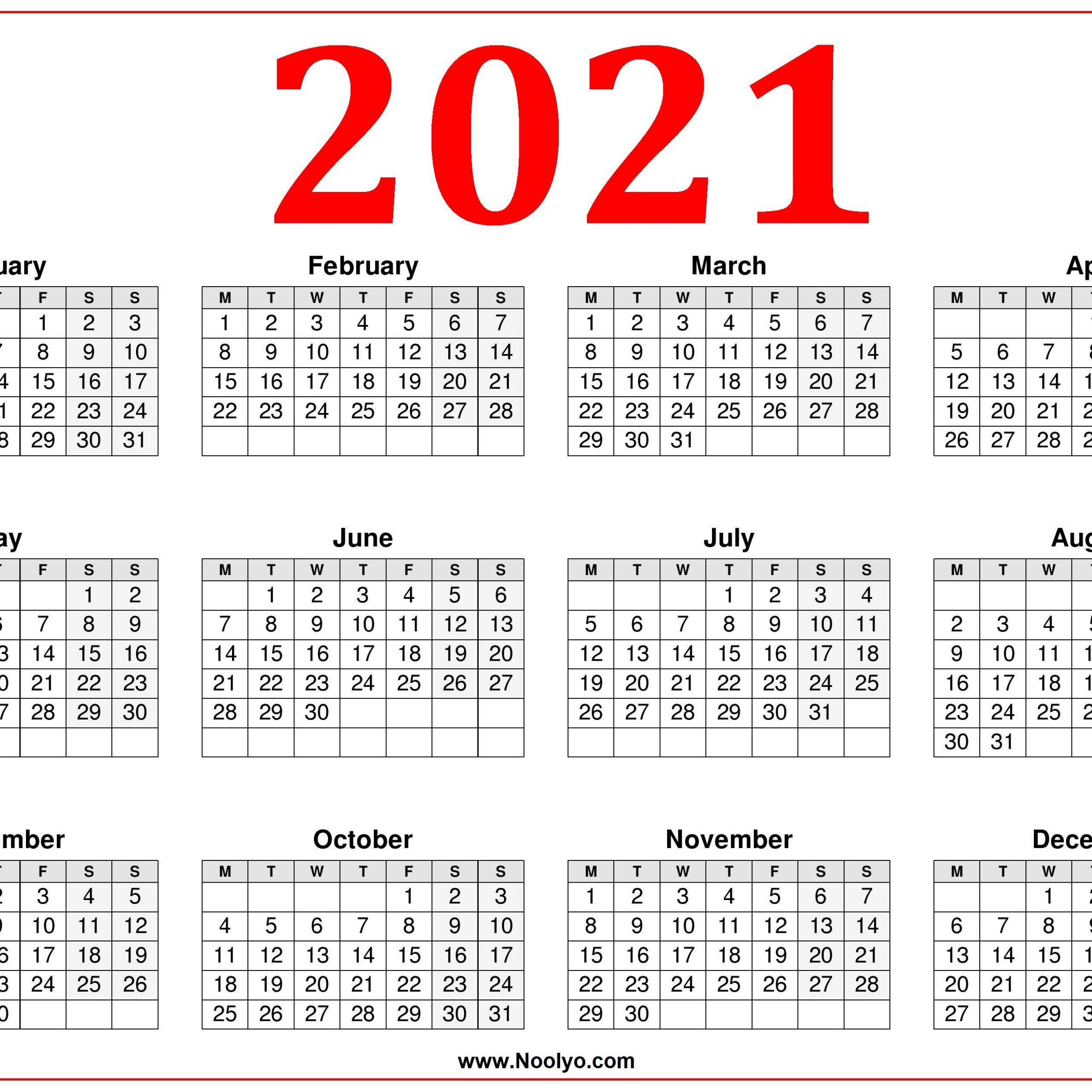 2021 Printable Calendar Starting Monday   Free Printable