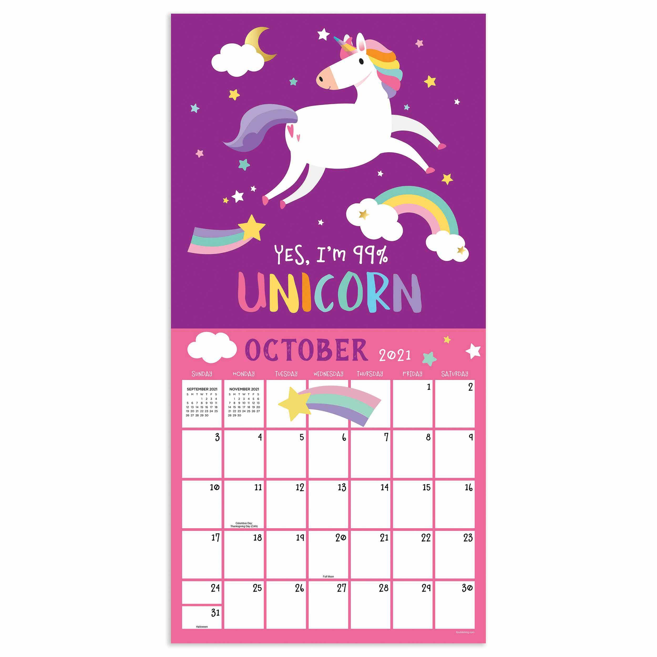 2021 Printable Unicorn Calandar   Calendar Printables Free