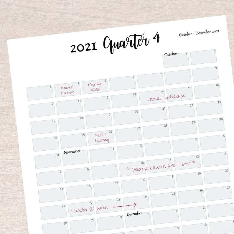 2021 Quarter At A Glance Printable 2021 Quarterly Overview   Etsy