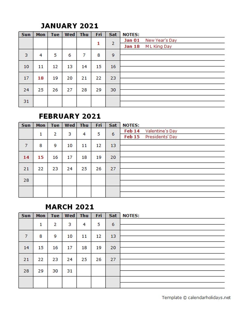 2021 Quarterly Template - Calendarholidays