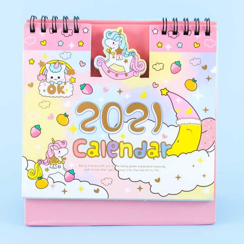 2021 Rainbow Unicorn Desk Calendar - Blippo Kawaii Shop