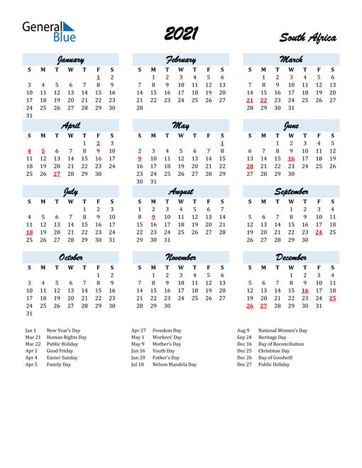 2021 South Africa Calendar With Holidays
