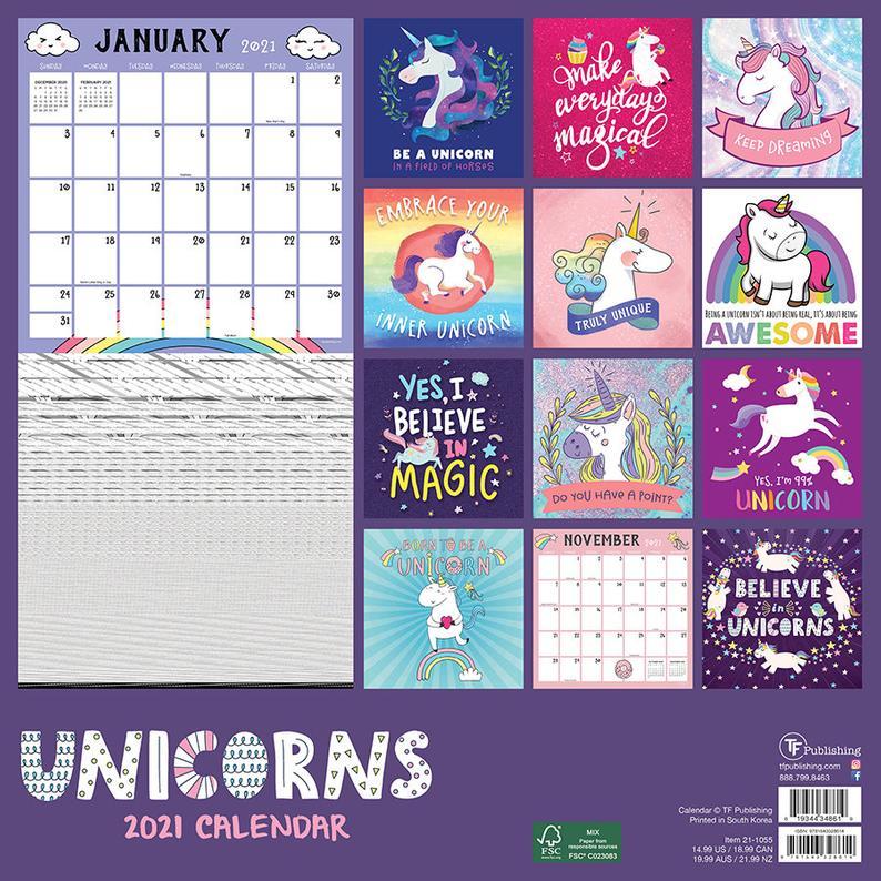 2021 Unicorns Wall Calendar 12X12   Etsy