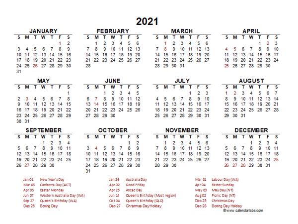 2021 Year At A Glance Calendar With Australia Holidays