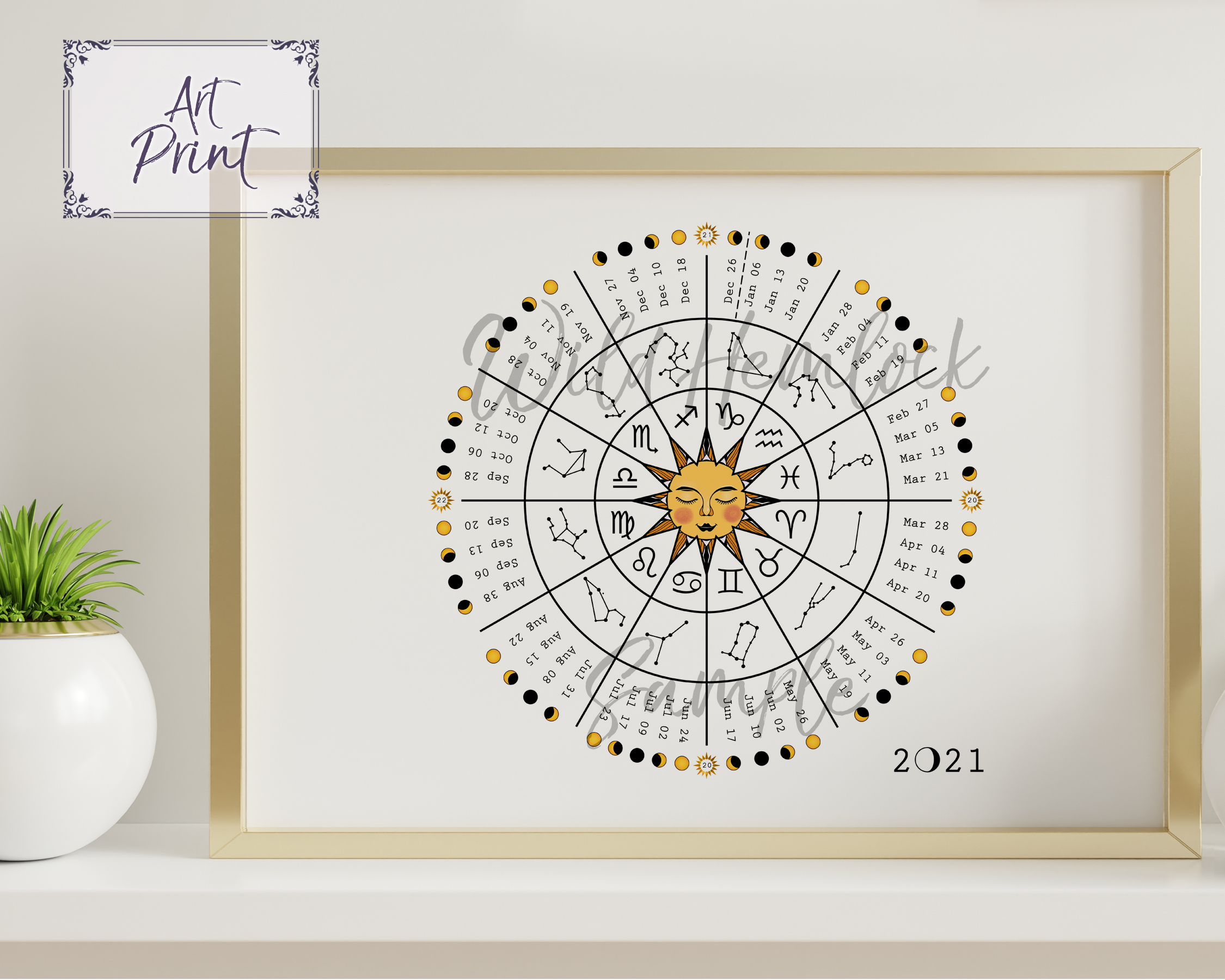 2021 Zodiac Wheel Astrology Moon Phase Calendar - Wild Hemlock