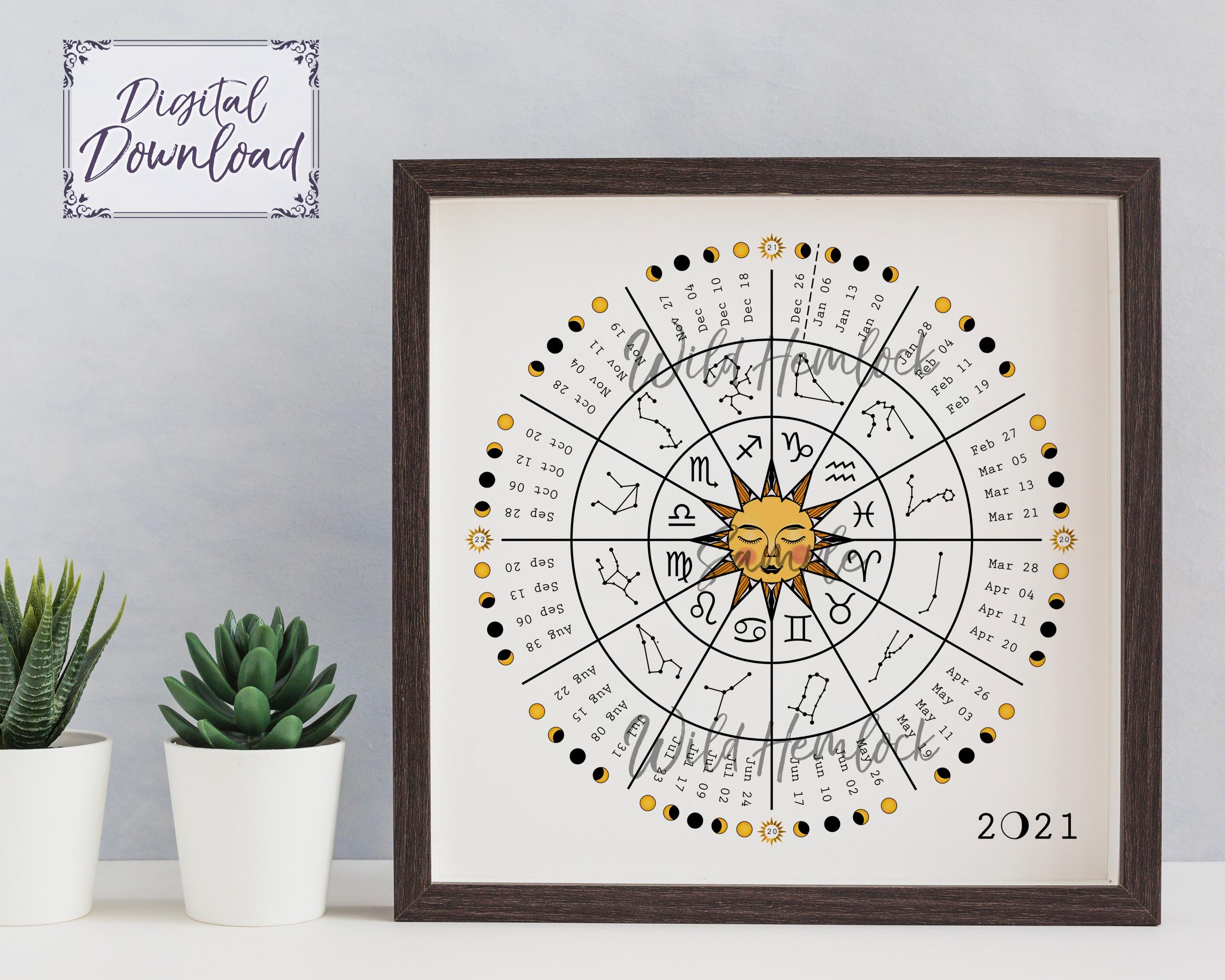 2021 Zodiac Wheel Moon Calendar Astrology Lunar Calendar