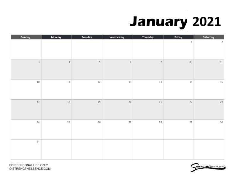 3 Free Printable January 2021 Calendar Pdf - Strength Essence
