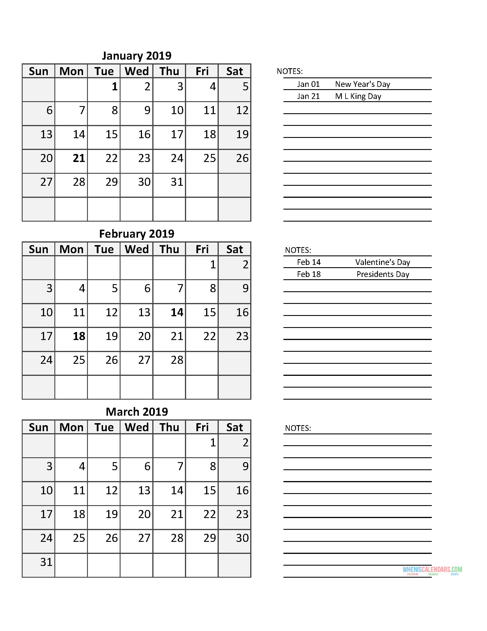 3 Month Calendar 2019 Quarterly Calendar First Quarter 2019   Free Printable 2020 Calendar With
