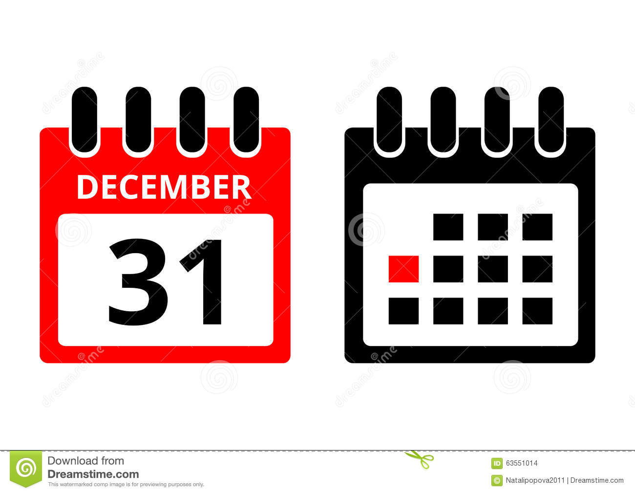 31 December Calendar Icon Stock Vector. Illustration Of