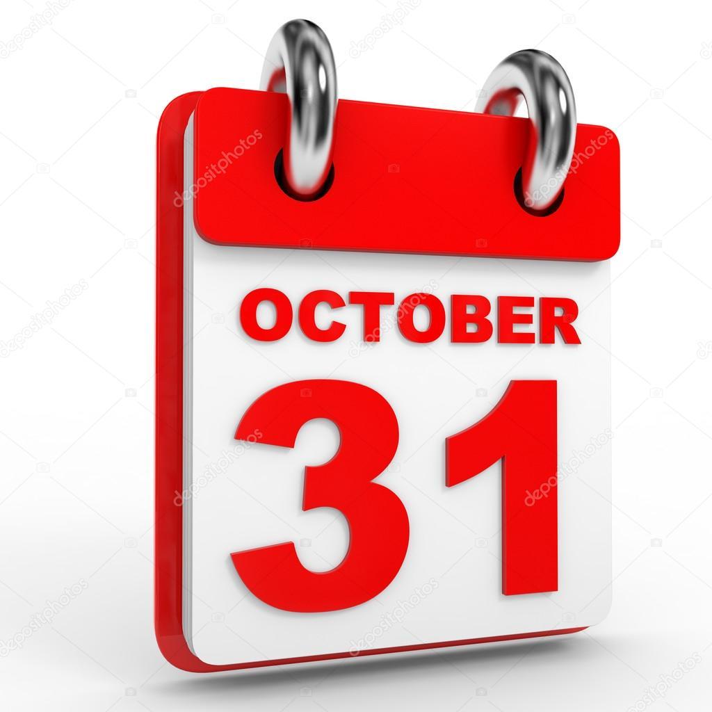 31 October Calendar On White Background. — Stock Photo