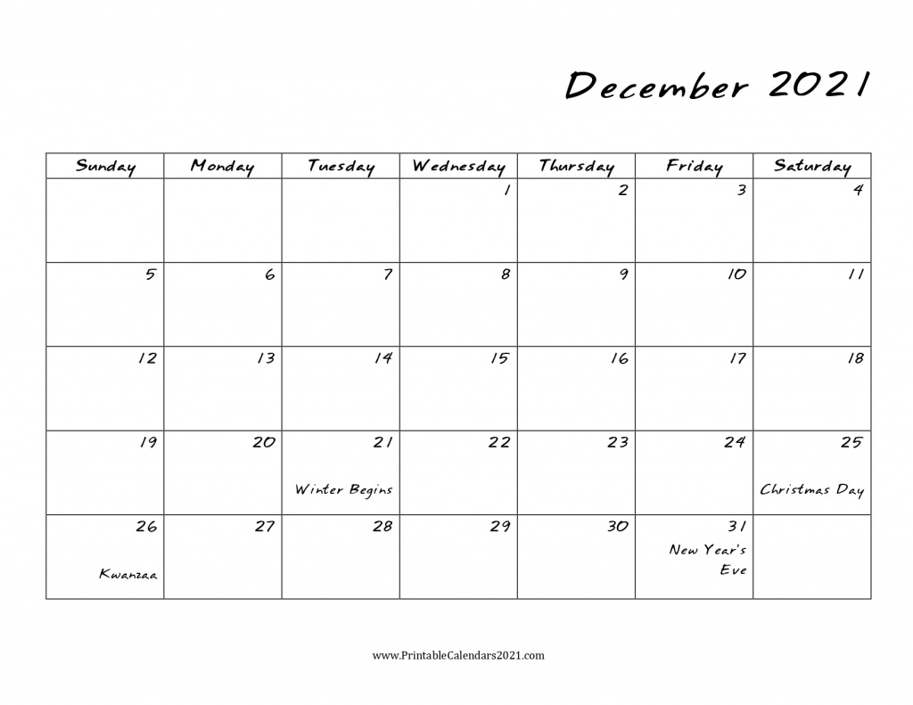 40+ December 2021 Calendar Printable December 2021