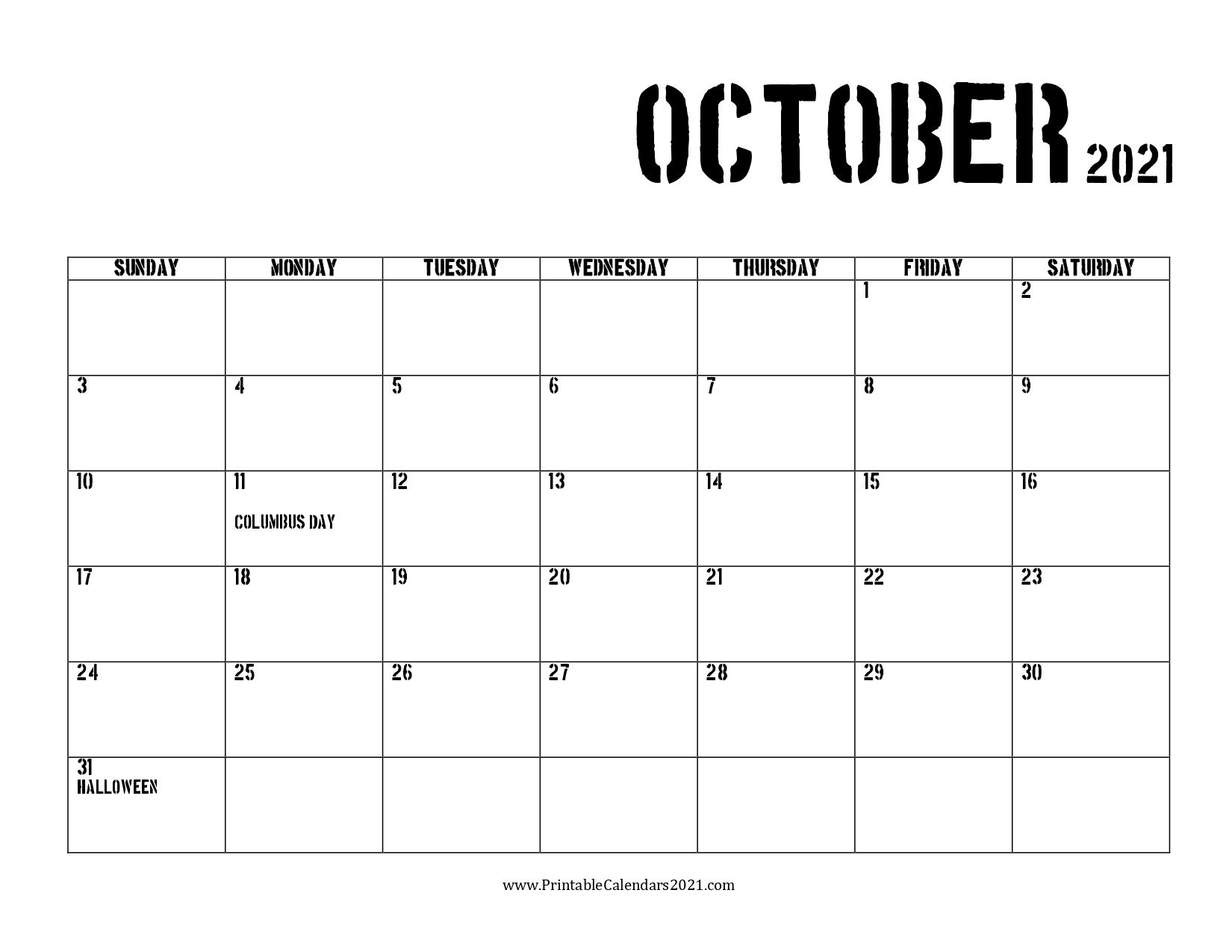 42+ October 2021 Calendar Printable October 2021 Calendar