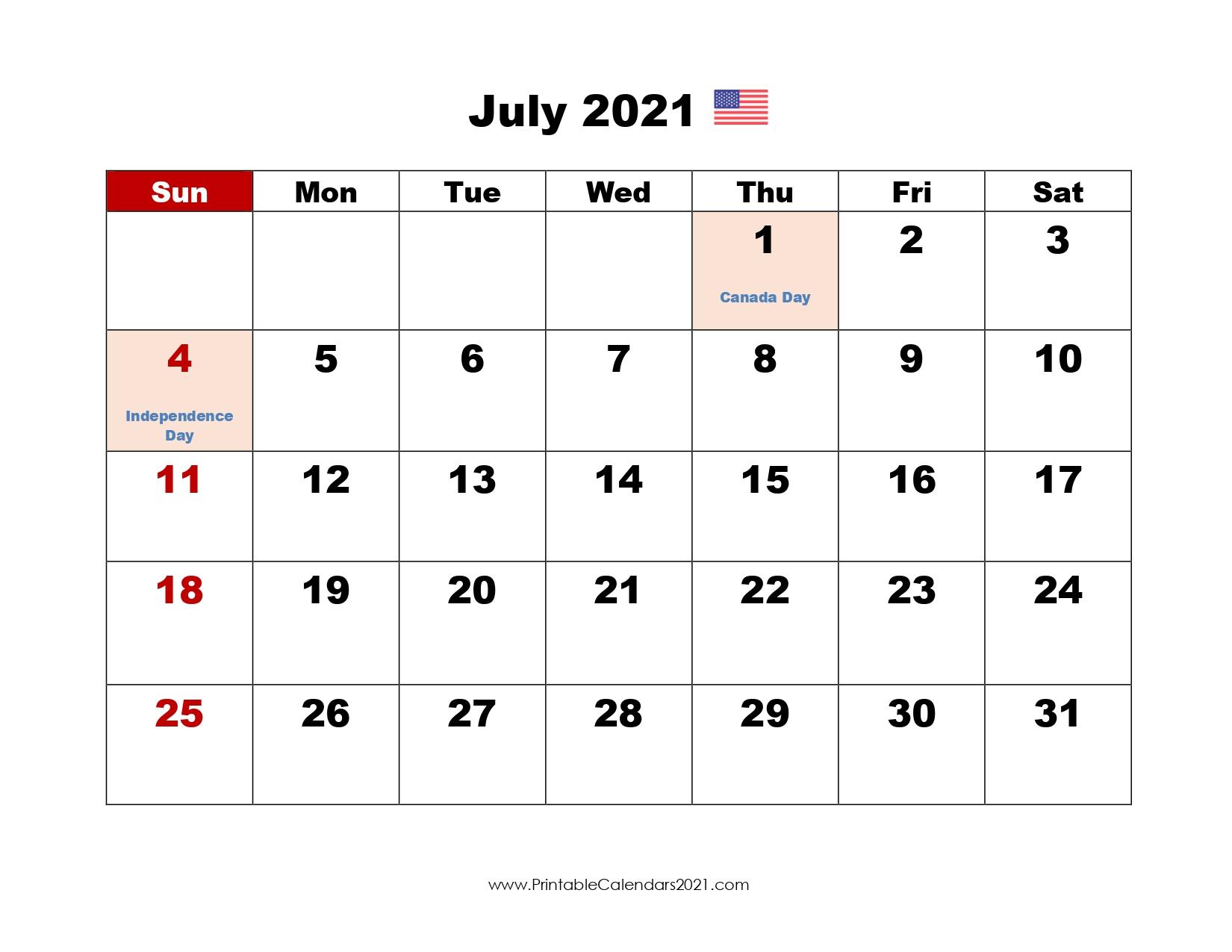 45+ July 2021 Calendar Printable July 2021 Calendar Pdf