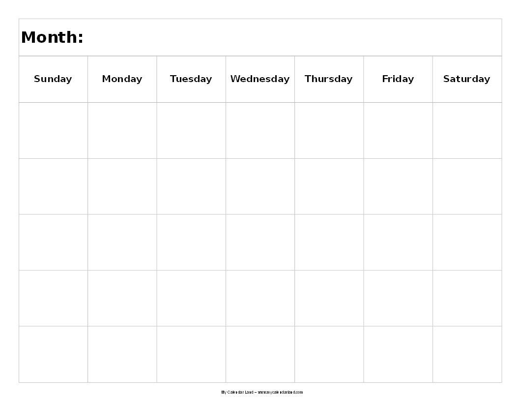 5 Day Week Calendar Template | Calendar Template Printable