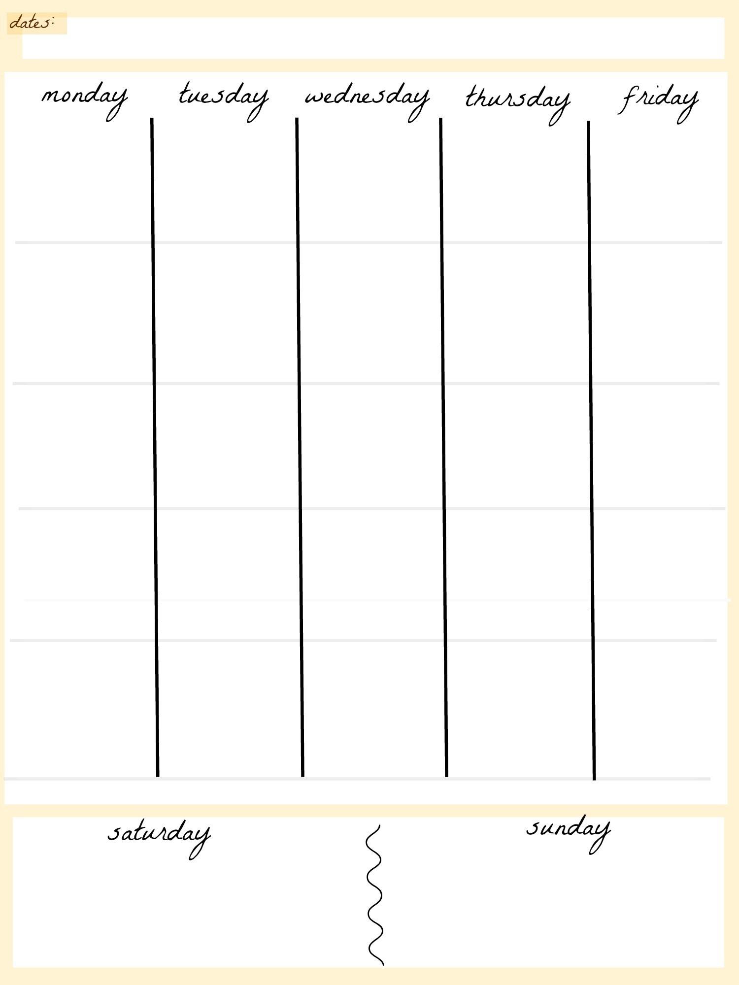 5 Day Week Calendar Templates | Calendar Template Printable